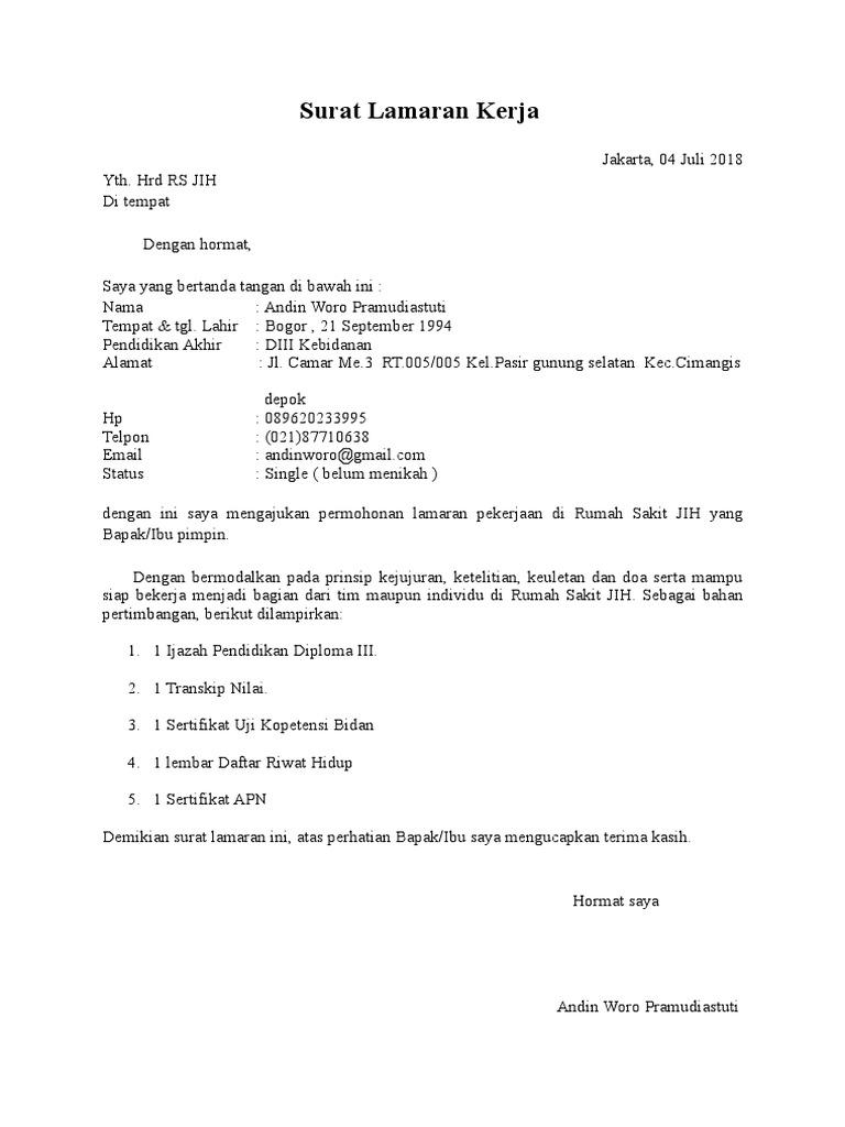 Surat Lamaran Rs Jih Docx