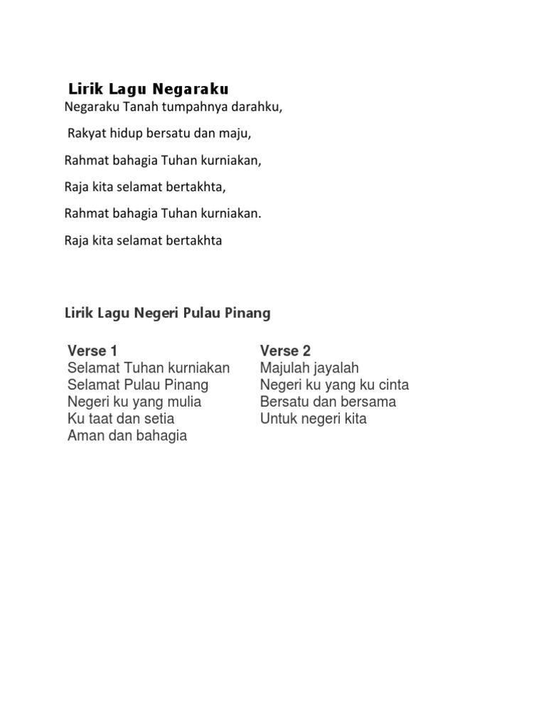 Lirik Lagu Negeri Pulau Pinang
