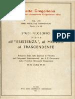 Studi Filosofici Intorno Allesistenza, Al Mondo, Al Trascendente