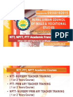 NTT, PTT, NPTT  Franchise Center in India-Rural Urban Council of Skills