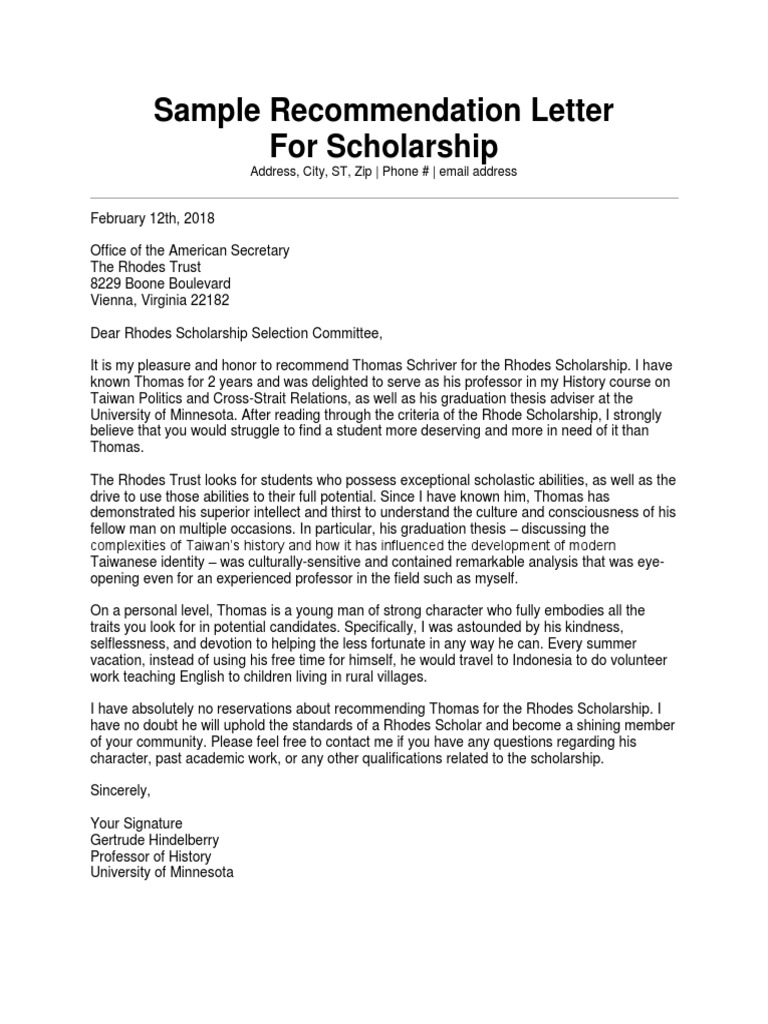Reference Letter For Scholarship Examples from imgv2-2-f.scribdassets.com