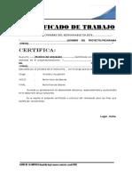 Certificado de Trabajo - Modelo