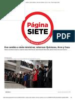 Evo Cambia a Siete Ministros 2019- Diario Pagina Siete