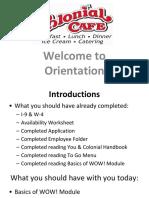 Team Member orientation