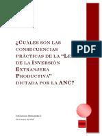 Cuales Son Las Consecuencias Practicas de La Ley de Inversion Extranjera Productiva Dictada Por La Anc