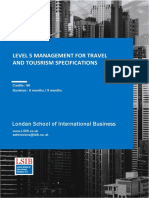 Level 5 Management for Travel and Tourism Specifications