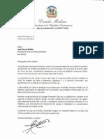 Carta de felicitación del presidente Danilo Medina a José Manuel Mallén por las Estrellas Orientales ganar el Torneo de Béisbol Otoño-Invernal 2018-2019