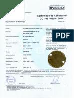 Cert. Calibración Alcoholimetro Serie 157011016065 Vence 13-10-15