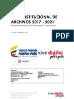 Plan Institucional de Archivos del Ministerio de Tecnologías de la Información y las Comunicaciones (PINAR MINTIC) de Colombia 2017 - 2021