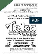 Class 12 Diwali Assignment Inorganic Chemistry