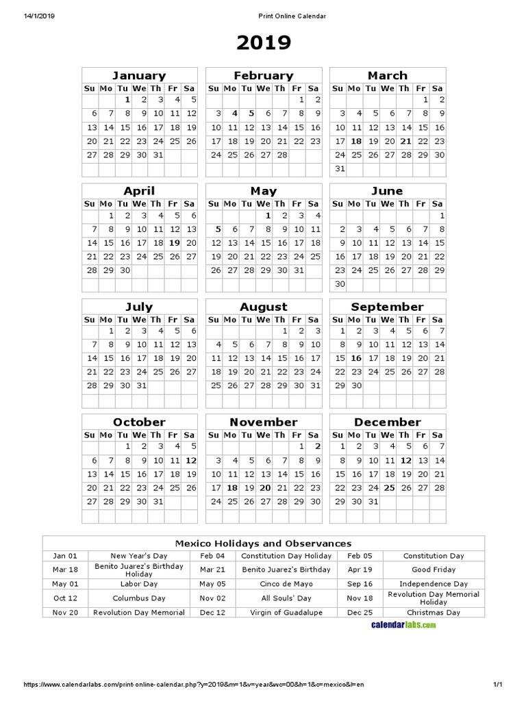 Print Online Calendar 2019 Print Online Calendar 2019 | Traditions | Public Holiday