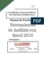 Manual de Herramientas de Análisis Con Excel 2016 56pag Fz