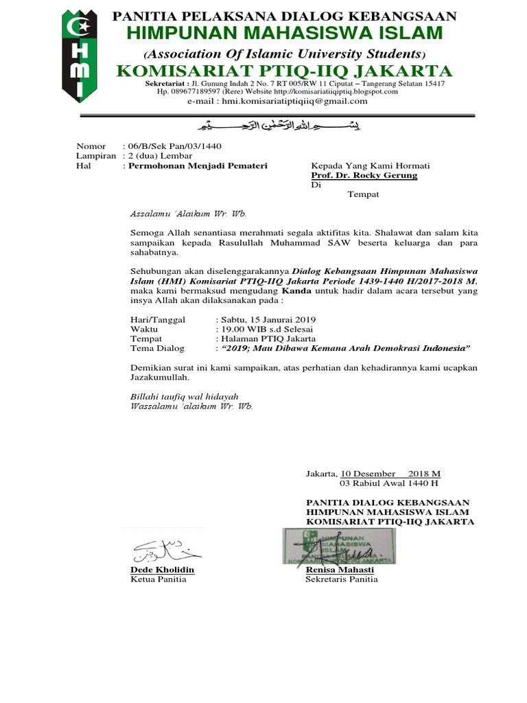 Surat Undangan Pemateri Seminar Kebangsaan