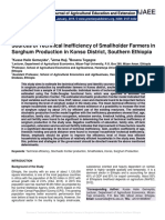 Sources of Technical Inefficiency of Smallholder Farmers in Sorghum Production in Konso District, Southern Ethiopia