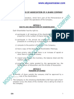 Model Articles of Association of a Share Company