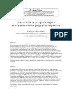Los usos de la categoría región en el pensamiento geográfico argentino      Alejandro Benedetti   CONICET, UNIVERSIDAD NACIONAL DE JUJUY Y UNIVERSIDAD DE BUENOS AIRES