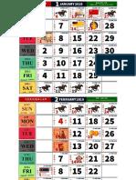 Kalendar Kuda 2019