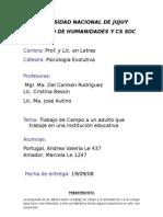 Trabajo de Campo n° 1 Entrevista a un adulto que trabaje en una institución educativa (2003-2007)