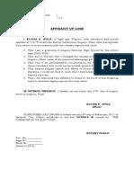 Affidavit of Loss Diploma