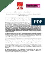 Communiqué de presse intersyndicale CGT FSU Solidaires