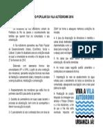 PLANO POPULAR DA VILA AUTÓDROMO 2016