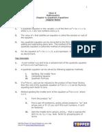 X Math Ch4 Quadratic Equations Chapter Notes Sept