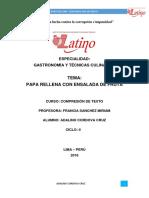 La Papa Peruana - PAPA RELLENA CON ENSALADA DE FRUTA DUSION