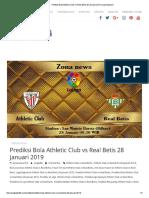 Prediksi Bola Athletic Club vs Real Betis 28 Januari 2019 _ Liga Spanyol