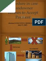 3 de Asis Procedure in Case Landowner Refuses to Accept Payment