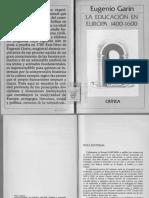 Eugenio Garin La Educación en Europa 1400 1600 Crítica Barcelona 1987