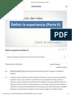 Definir La Experiencia (Parte III) _ Coursera