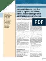 Recomendaciones SED 2010 medición glucemia capilar