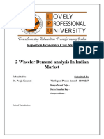 Economics Report on 2 wheeler demand analysis