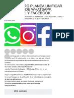 Zuckerberg Planea Unificar Los Chats De