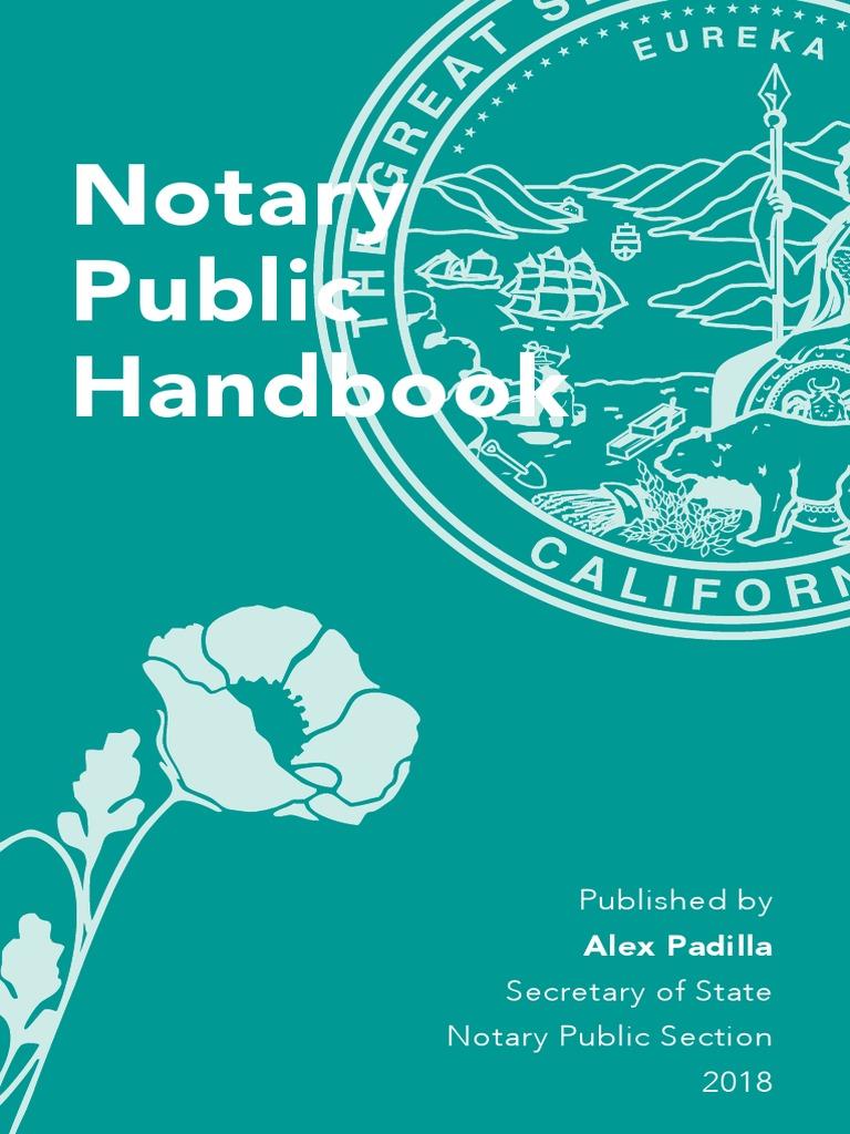 CALIFORNIA Notary Handbook 2018 | Notary Public | Surety Bond