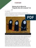 Artículo en el diario El Espectdor sobre las exposiciones Pequeño dios de la muerte y Paisajes interiores en Crispeta Galería de Bogotá, Colombia.