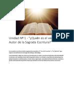 Unidad Nº 1 - _¿Quién Es El Verdadero Autor de La Sagrada Escritura_