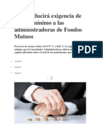 SMV Reducirá Exigencia de Capital Mínimo a Las Administradoras de Fondos Mutuos