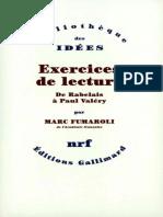 Marc Fumaroli - Exercices de Lecture, De Rabelais à Paul Valéry (2006, Gallimard)