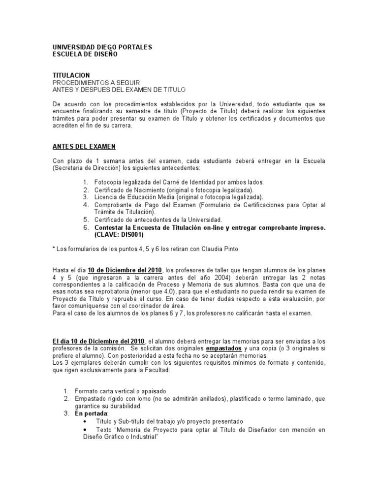 Requisitos Examen de Titulo