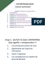Entrepreneuriat Et Création d'Entreprises
