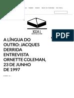 A Língua Do Outro_ Jacques Derrida Entrevista Ornette Coleman, 23 de Junho de 1997 _ Editora Kza1