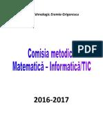 Comisie Metodică Mate Info 2016-2017