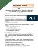 Especificaciones Tecnicas Biblioteca, Comedor, Cocina, Colegio Inka Pachacutec Cusco