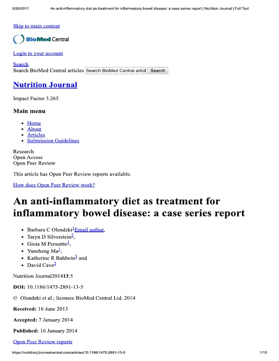 An Anti-Inflammatory Diet as Treatment    Report _ Nutrition Journal