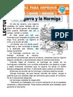 Ficha de La Cigarra y La Hormiga Para Segundo de Primaria