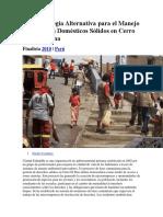 Una Estrategia Alternativa Para El Manejo de Desechos Domésticos Sólidos en Cerro El Pino