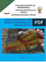 Plan de Prevencion y Reduccion Del Riesgo de Desastres de La Subcuenca Quillcay 2018 2021