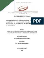 Orientaciones y Recomendaciones Para El Uso de Las Unidades Didácticas y Sesiones de Aprendizaje