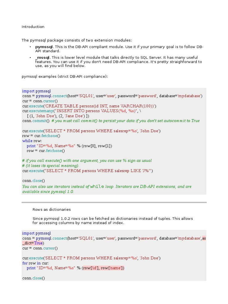 python_mssql2 pdf   Microsoft Sql Server   Windows Registry